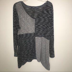 Style & Co Black/White Long Sleeve Top sz L